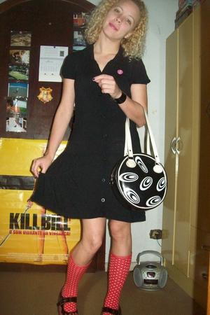 black dress - black shoes - red socks