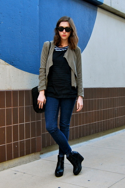 black Deena & Ozzy boots - navy jeggings Forever 21 jeans