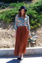 tawny Forever 21 skirt - black vintage hat hat - sky blue Forever 21 blouse