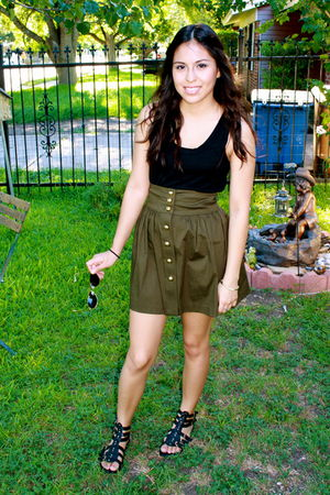 black Guess top - green Spring Street skirt - black Bakers shoes - gold Ray Ban