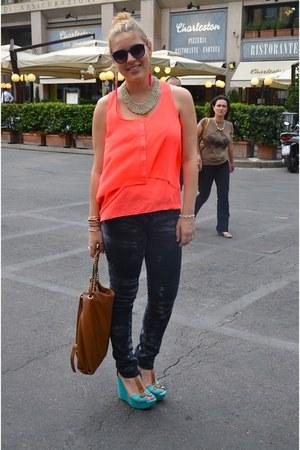 carrot orange H&M top - navy Zara jeans - sky blue Stradivarius wedges