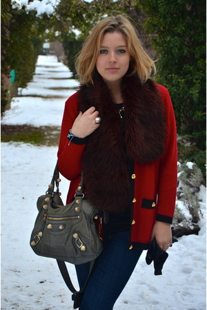 red vintage cardigan - heather gray balenciaga bag
