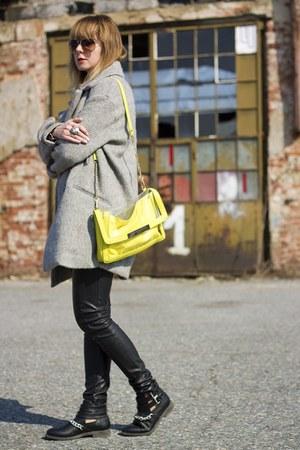 house boots - Bershka coat - neon Stradivarius bag - leather pants Sinsay pants