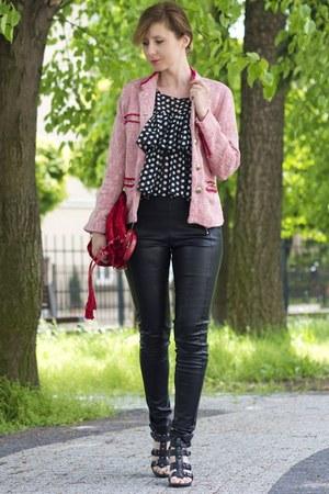Zara suit - black leather Sinsay leggings - red Stradivarius bag