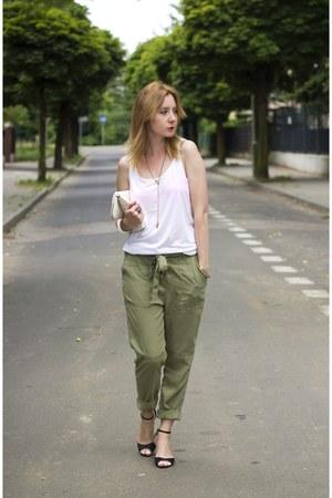 military Bershka pants - Cubus bag - H&M bra - Deichmann heels - New Yorker top
