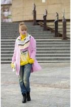 pink coat Mohito coat - Sinsay boots - boyfriend jeans Pimkie jeans