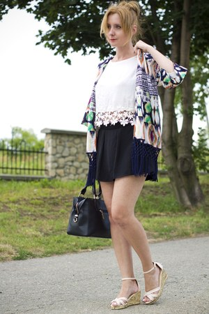 second hand shorts - white Bershka blouse - Vero Moda cardigan