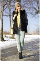 fur vest Bershka vest - yellow house bag - sequins H&M cardigan