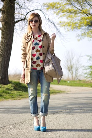 trench coat second hand coat - boyfriend jeans Pimkie jeans - second hand shirt