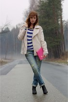 blue boyfriend jeans Pimkie jeans - beige street style Pimkie jacket