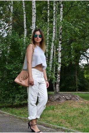 navy crop top Zara top - Bershka jeans - Mohito bag - Bershka sunglasses