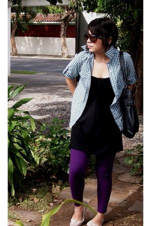 Zara leggings - pull&bear dress - amichi shirt - Grendha shoes - Nine West acces
