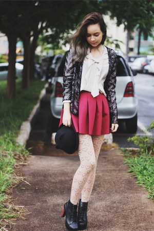 red red 6ks skirt - black faux leather BangGood boots