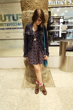 dark brown H&M boots - H&M dress - navy Leader jacket - teal Vera Pelle bag