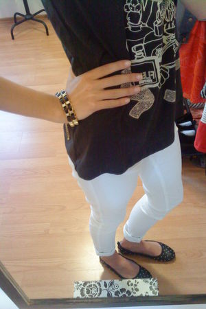 black H&M shoes - white Cubus leggings - gray H&M blouse