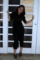 black bought from bandung indonesia blouse - black random brand pants - black ra