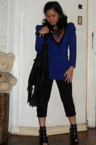 blue from Bandung Indonesia top - black random brand pants - black random brand