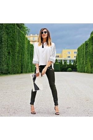 ivory Zara shirt - white Zara bag - black Zara sandals - olive green Zara pants