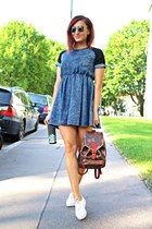 denim Sheinsidecom dress - Louis Vuitton bag - white Keds sneakers