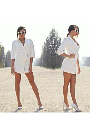 white Sheinside dress - white Miu Miu sunglasses - white Buffalo heels