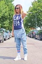 navy Primark shirt - off white Spirit of 76 socks - periwinkle Zara jumper