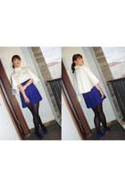 white satin Tanli Ferry cape - blue unbranded dress - black unbranded stockings
