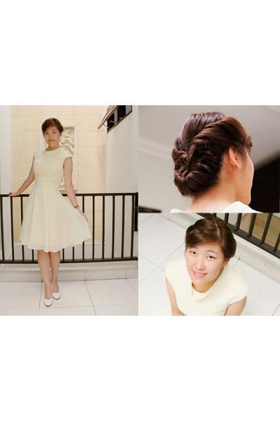 light yellow chiffon Msdressy dress - white Comfort Plus heels