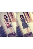 brick red leather vintage unbranded bag - black polkadot DIY dress