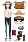 black leather J Brand pants - tan straw Melissa Odabash hat