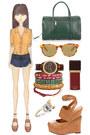 navy leather asos shorts - dark green Chloe bag