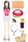hot pink sleeveless Topshop blouse - camel clutch Vince Camuto bag
