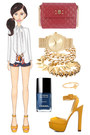 white Mango blazer - red Marc Jacobs bag - navy scarf print Boohoo shorts