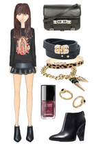 black ankle Zara boots - black PROENZA SCHOULER bag - black Wildfox sweatshirt