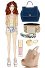 Zara shorts - camel Mango jacket - blue Dolce & Gabbana bag