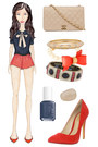 red Thakoon addition shorts - tan Chanel bag - red Nasty Gal pumps