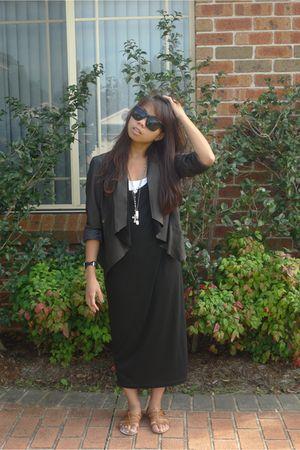 black David Lawrence jacket - black Staple by Mink Pink dress - brown Zoe Wittne