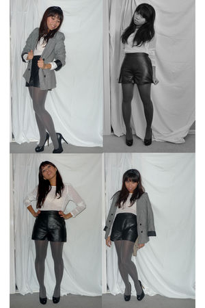gray bardot jacket - black vintage shorts - white Sportsgirl blouse - gray voodo