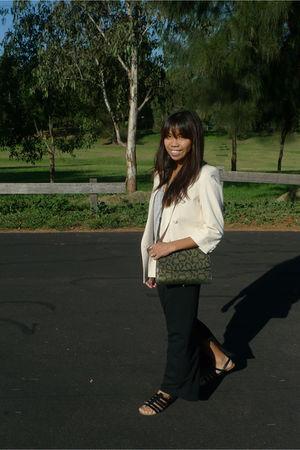 beige Extinct blazer - silver Bassike top - black Mink Pink skirt - black Wittne
