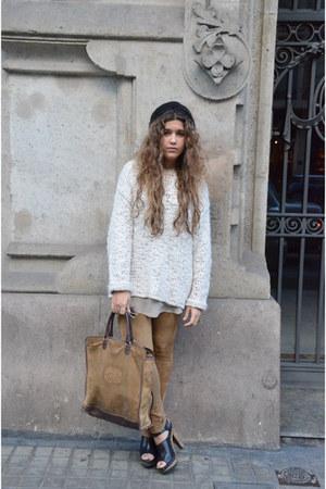 Topshop jumper - vintage hat - Zara leggings - loewe bag - Zara heels