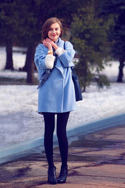 sky blue Libellulas coat - white H&M sweater - navy Accessorize scarf