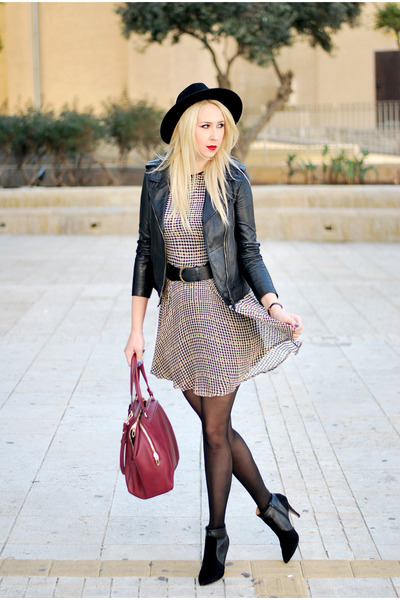 black asos boots - crimson Zara dress - black Forever 21 hat - maroon Zara bag