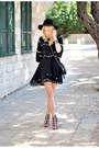Black-zara-dress-black-forever-21-hat-black-zara-heels