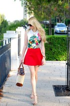 white Zara t-shirt - red Zara skirt