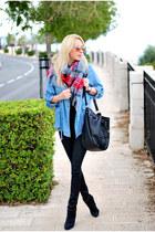 silver asos scarf - black H&M jeans - sky blue Forever 21 jacket
