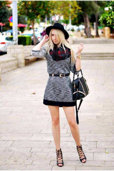 brick red H&M scarf - heather gray pull&bear dress - black Zara heels