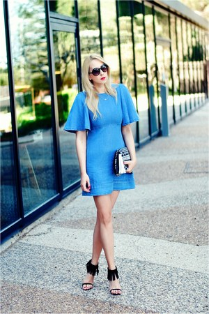 sky blue Zara dress - white Bershka bag - black asos heels