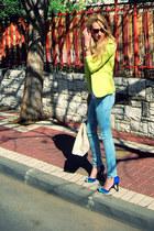 sky blue Zara jeans - lime green Forever 21 blazer - ivory Forever 21 bag