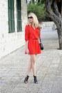 Red-zara-dress-black-h-m-bag