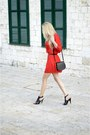 Red-zara-dress-black-h-m-bag