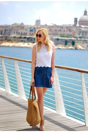 navy Zara skirt - burnt orange Mango bag - white Zara top